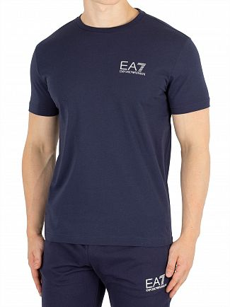 EA7 Navy Blue Chest Logo T-Shirt
