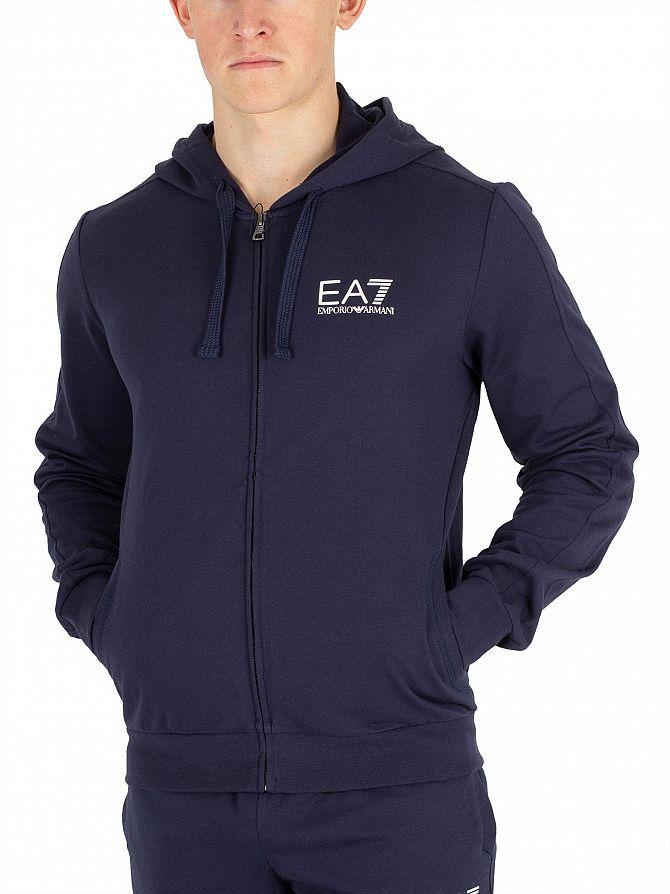 EA7 Navy Blue Zip Hoodie