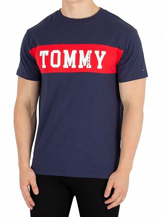 Tommy Jeans Black Iris Panel Logo T-Shirt