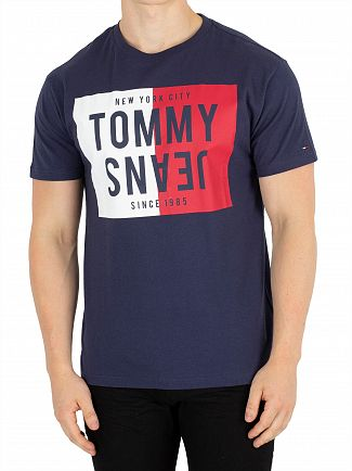 Tommy Jeans Black Iris Split Box T-Shirt