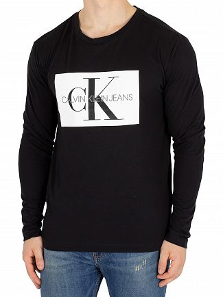 Calvin Klein Jeans Black Longsleeved Monogram Box T-Shirt