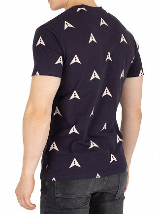 Scotch & Soda Navy Ams Blauw Allover Print T-Shirt