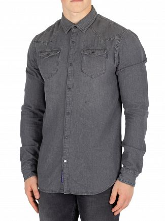 Scotch & Soda Antra Ams Blauw Slim Western Shirt