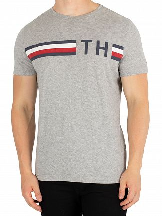 Tommy Hilfiger Cloud Heather Striped Graphic T-Shirt