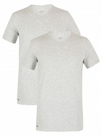 Lacoste Grey Melange 2 Pack Slim V-Neck T-Shirt