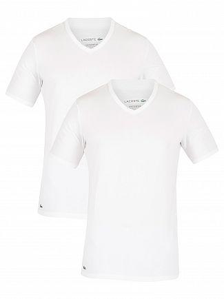 Lacoste White 2 Pack Slim V-Neck T-Shirt