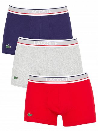 Lacoste Grey/Red/Navy 3 Pack Trunks