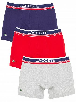 Lacoste Navy/Grey/Red 3 Pack Trunks