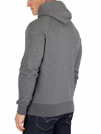 Gant Charcoal Melange Pullover Shield Hoodie