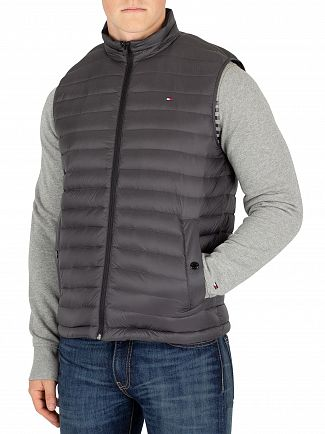 Tommy Hilfiger Gray Pinstripe Light Weight Packable Gilet