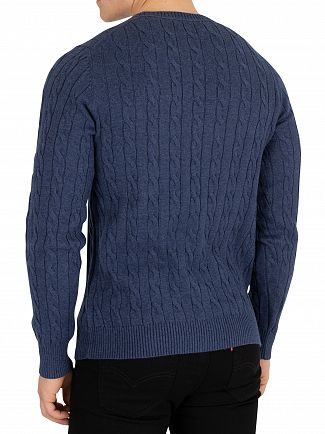 Gant Dark Jeans Blue Cotton Cable Sweatshirt