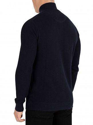 Gant Evening Blue Cotton Pique Half Zip Sweatshirt