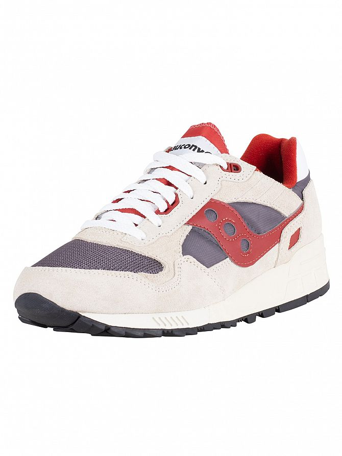 Saucony Off White/Grey/Red Shadow 5000 Vintage Trainers