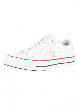 Converse White/Gym Red/White One Star Ox Leather Trainers