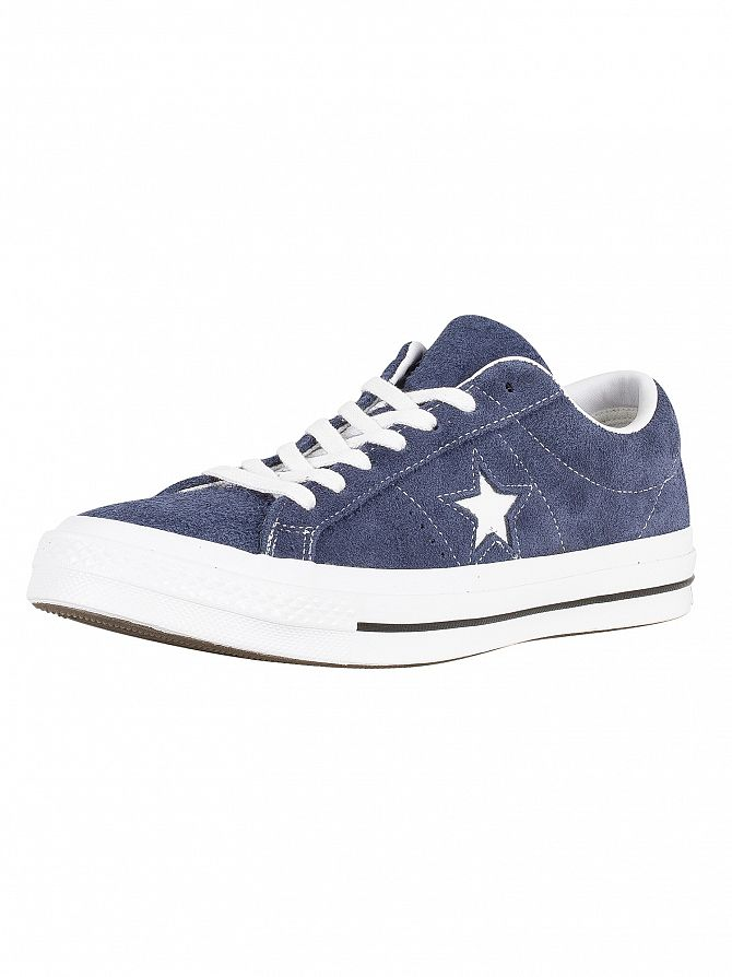 Converse Navy/White One Star Ox Suede Trainers