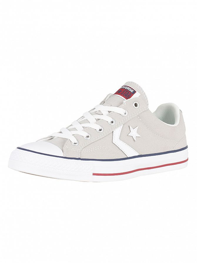 Converse Cloud Grey/White Star Player Ox Canvas Trainers