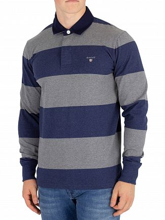 Gant Dark Grey Melange Barstripe Heavy Rugger Longsleeved Polo Shirt