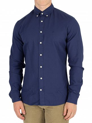 Hackett London Airforce Blue Slim Fit Delave Oxford Shirt