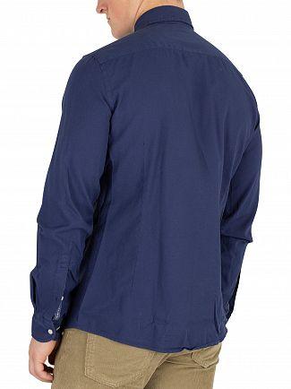 Hackett London Airforce Blue Slim Fit Delave Oxford Shirt