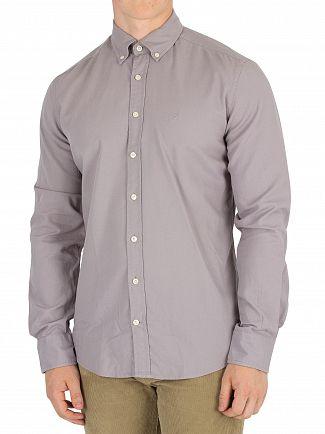 Hackett London Steel Grey Slim Fit Delave Oxford Shirt