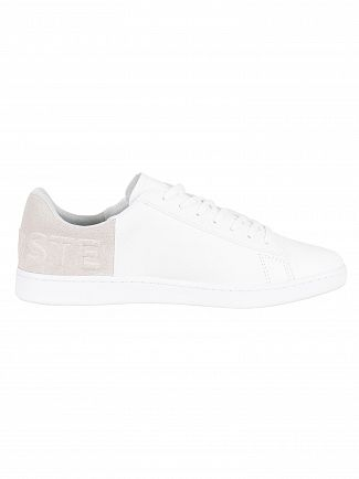 Lacoste White/Light Grey Carnaby Evo 318 2 QSP SPM Leather Trainers