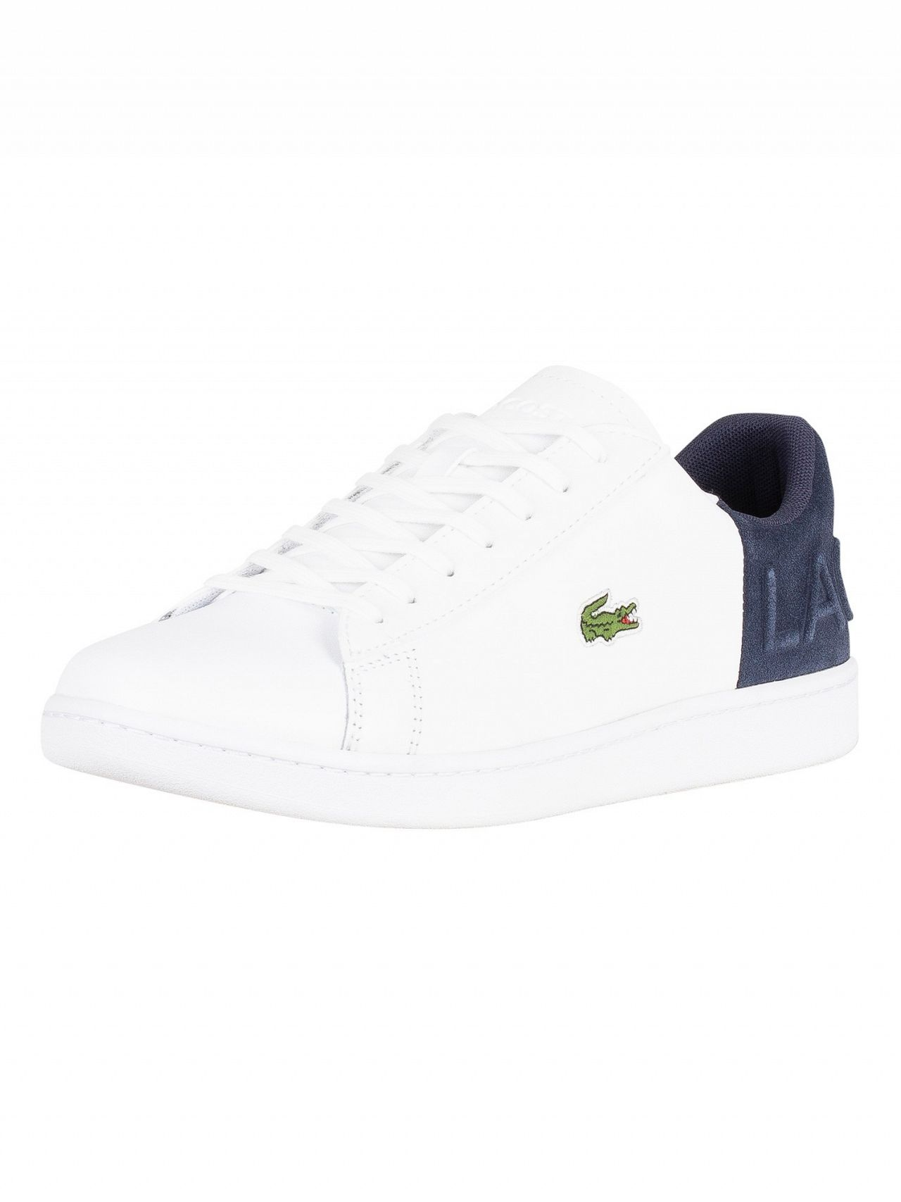 f1b392f2a4f9 Lacoste White Navy Carnaby Evo 318 2 QSP SPM Leather Trainers