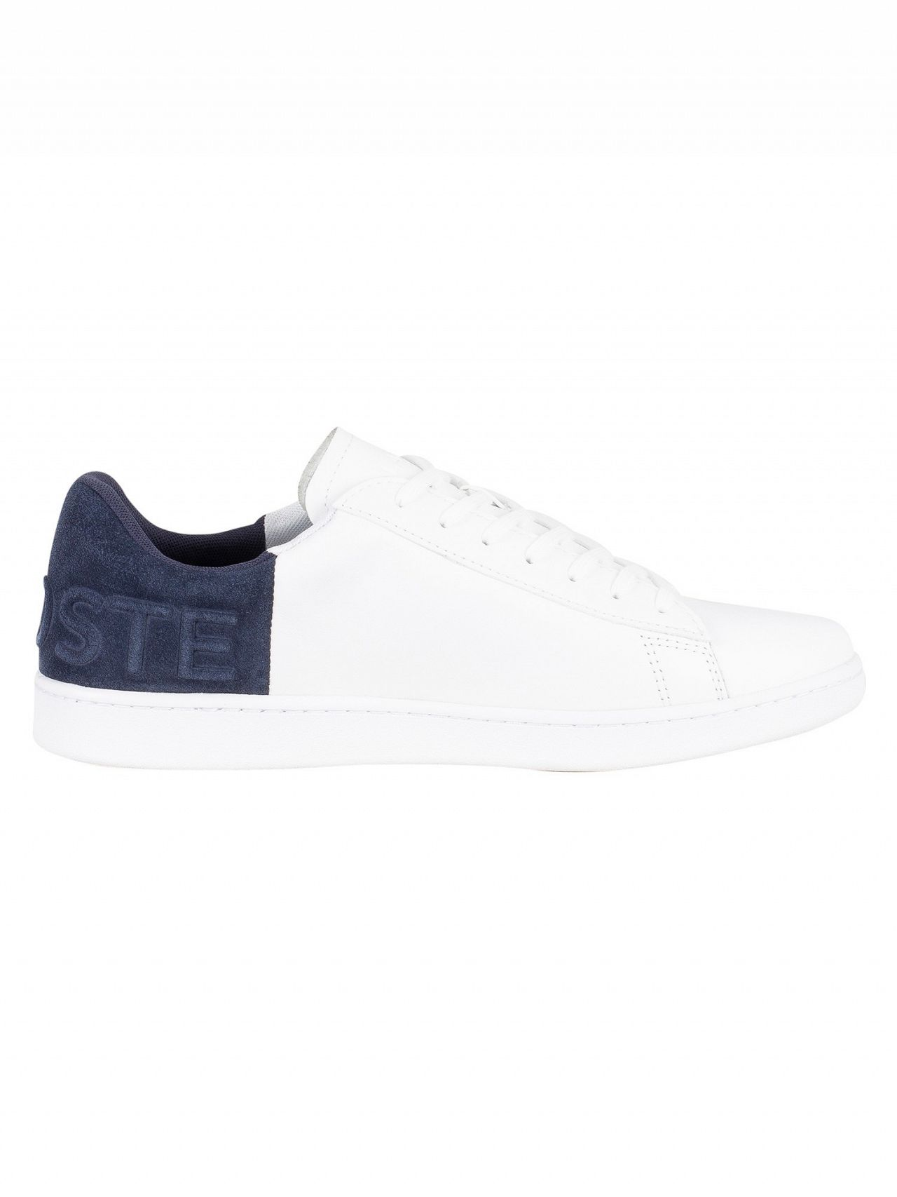 d541a001c2d85 Lacoste White Navy Carnaby Evo 318 2 QSP SPM Leather Trainers