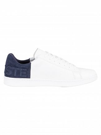 Lacoste White/Navy Carnaby Evo 318 2 QSP SPM Leather Trainers