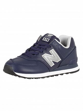 New Balance Navy 574 Leather Trainers