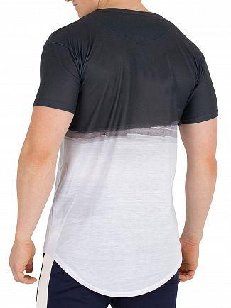 Sik Silk Black/White Curved Hem Wash Out T-Shirt