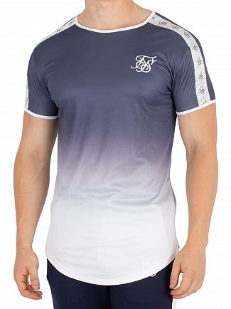 Sik Silk Navy Taped Fade Gym T-Shirt