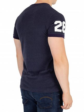 Superdry Shadow Cast Navy Blue Marl Vintage Logo Ringer T-Shirt