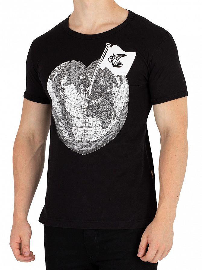 Vivienne Westwood Black Classic Heart World Print T-Shirt