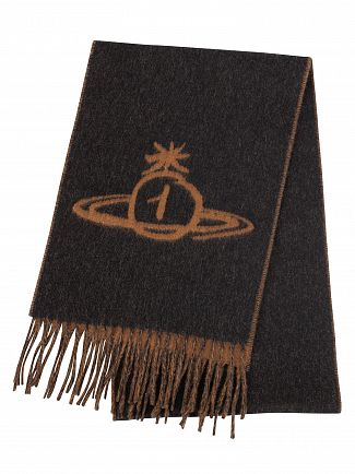 Vivienne Westwood Anthracite/Brown Reversible Scarf