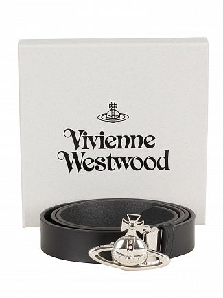 Vivienne Westwood Black Orb Buckle Palladio Belt
