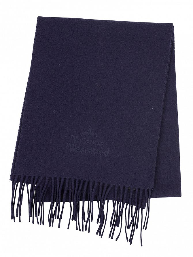 Vivienne Westwood Navy Blue Plain Scarf