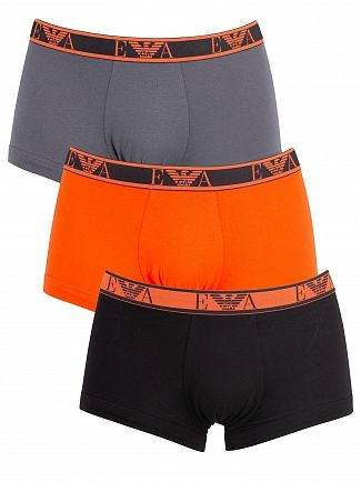 Emporio Armani Black/Red/Grey 3 Pack Trunks