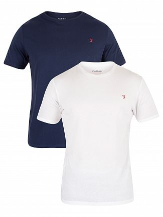 Farah Vintage Navy/White 2 Pack Pinehurst T-Shirt