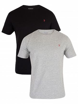 Farah Vintage Black/Light Grey Melange 2 Pack Pinehurst T-Shirt