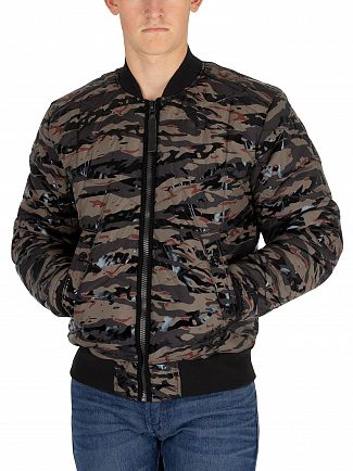 G-Star Vermont Green Whistler Quilted Bomber Jacket