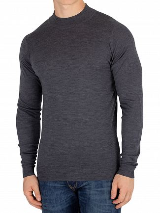 John Smedley Charcoal Harcourt Pullover Turtle Neck Knit