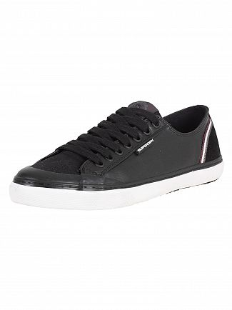 Superdry Vintage Black Low Pro Retro Leather Trainers