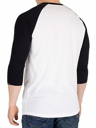 Vans White/Black Pull Patch 3/4 sleeve Raglan T-Shirt