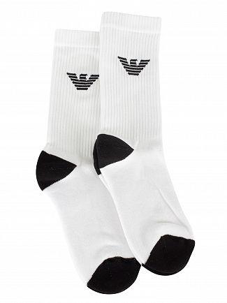Emporio Armani White 2 Pack Sponge Socks