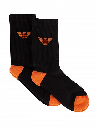 Emporio Armani Black 2 Pack Sponge Socks