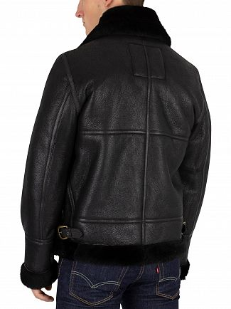 Schott Black Fur Trim Leather Jacket