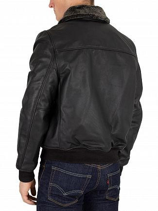 Schott Black Fur Collar Leather Jacket