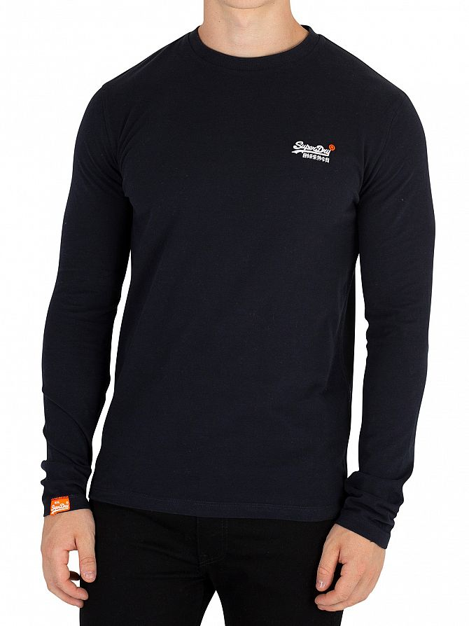 Superdry Eclipse Navy Longsleeved Orange Label Vintage Embroidery T-Shirt