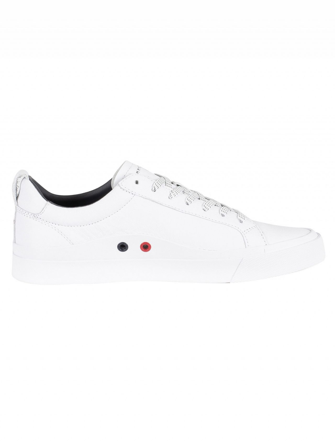 fddd7fd70490 Tommy Hilfiger White Flag Detail Leather Trainers