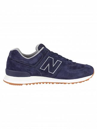 New Balance Navy 574 Suede Trainers